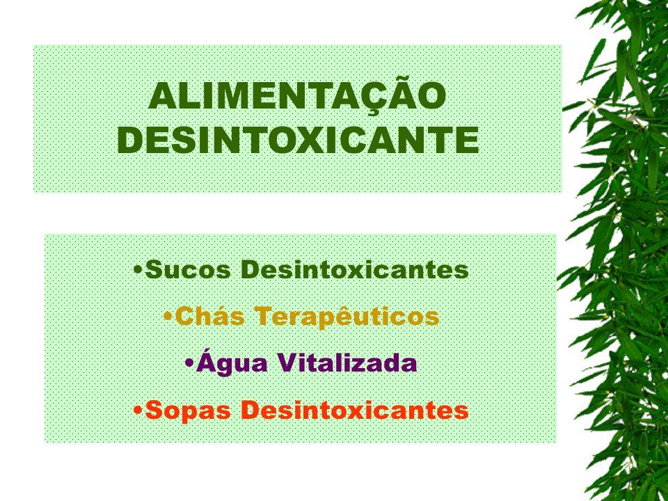 ALIMENTAÇÃO DESINTOXICANTE Sucos Desintoxicantes Chás Terapêuticos Água Vitalizada Sopas Desintoxicantes