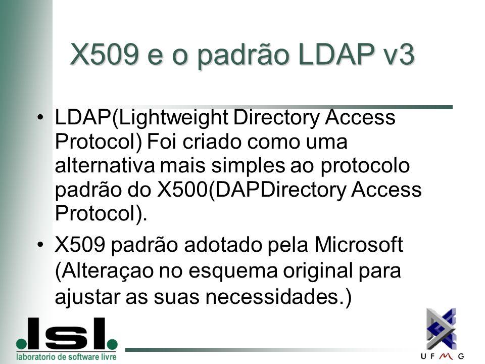 X509 e o padrão LDAP v3 LDAP(Lightweight Directory Access Protocol) Foi criado como uma alternativa mais simples ao protocolo padrão do X500(DAPDirectory Access Protocol).