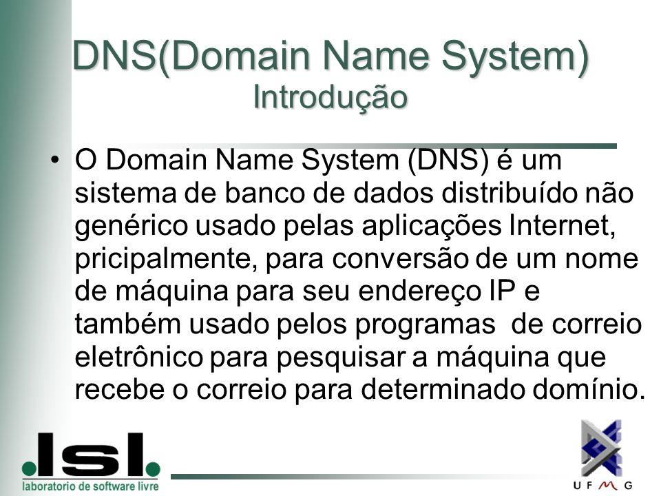 DNS(Domain Name System) Introdução O Domain Name System (DNS) é um sistema de banco de dados distribuído não genérico usado pelas aplicações Internet, pricipalmente, para conversão de um nome de máquina para seu endereço IP e também usado pelos programas de correio eletrônico para pesquisar a máquina que recebe o correio para determinado domínio.