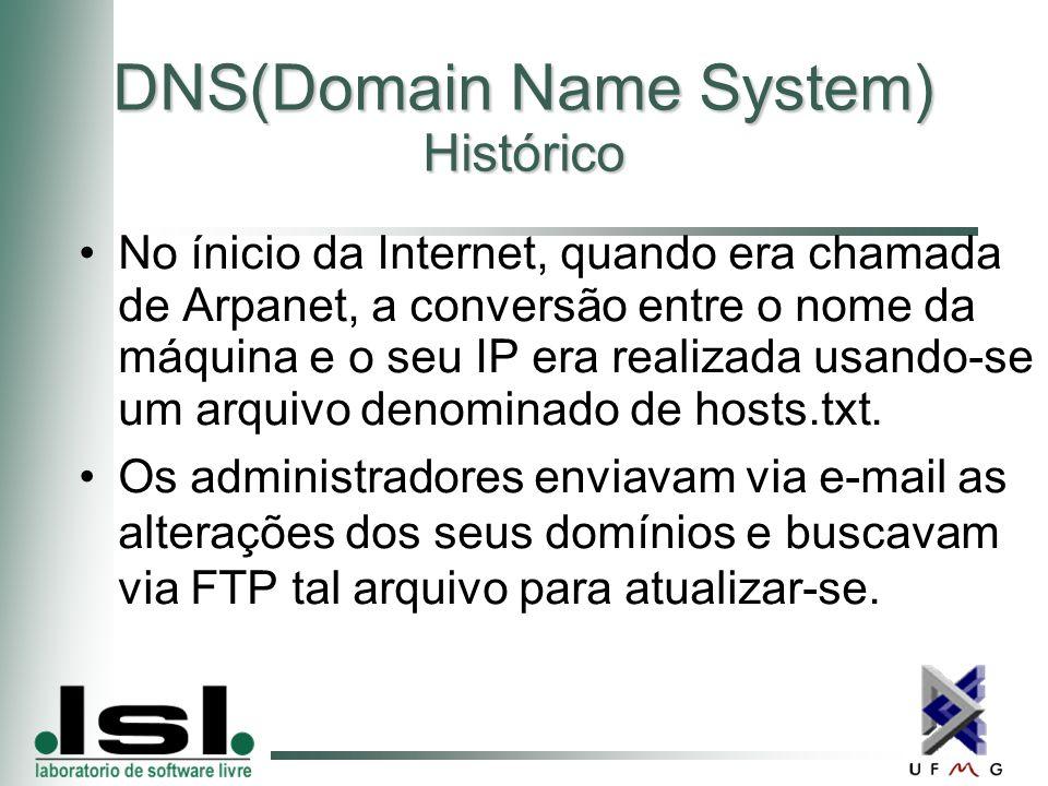 DNS(Domain Name System) Histórico No ínicio da Internet, quando era chamada de Arpanet, a conversão entre o nome da máquina e o seu IP era realizada usando-se um arquivo denominado de hosts.txt.