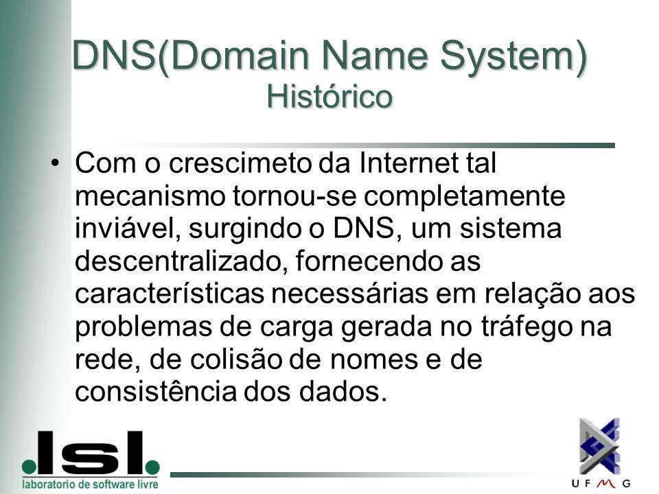 DNS(Domain Name System) Histórico Com o crescimeto da Internet tal mecanismo tornou-se completamente inviável, surgindo o DNS, um sistema descentralizado, fornecendo as características necessárias em relação aos problemas de carga gerada no tráfego na rede, de colisão de nomes e de consistência dos dados.