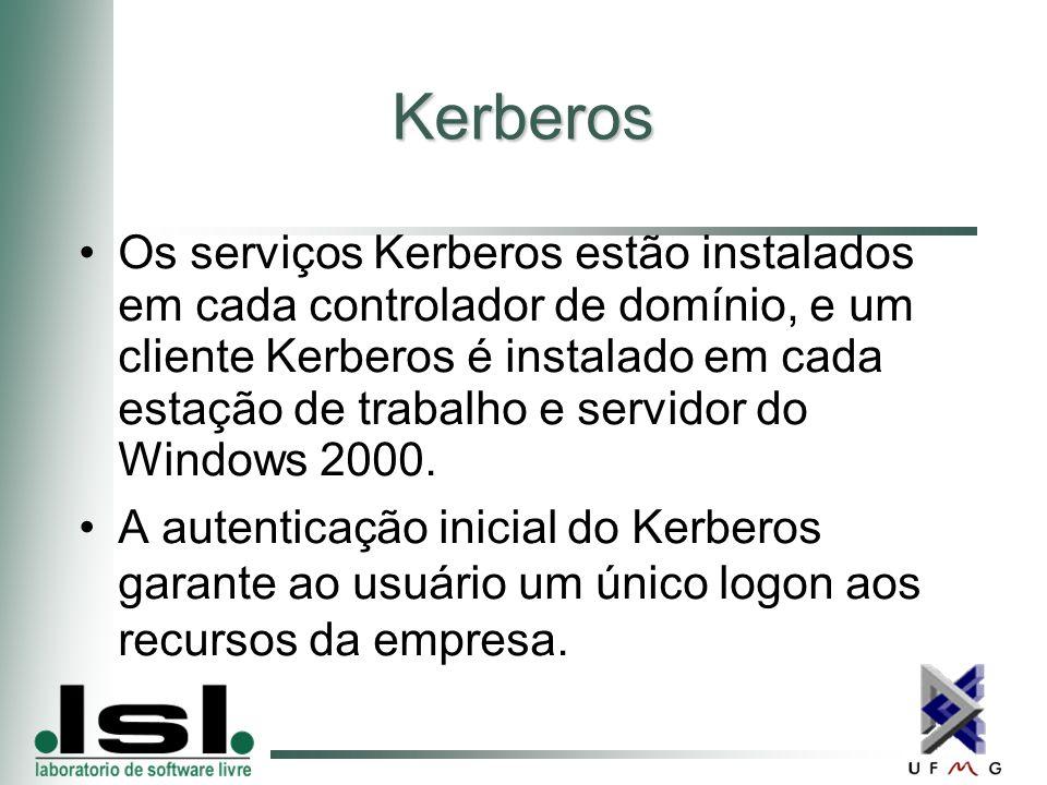 Kerberos Os serviços Kerberos estão instalados em cada controlador de domínio, e um cliente Kerberos é instalado em cada estação de trabalho e servidor do Windows 2000.
