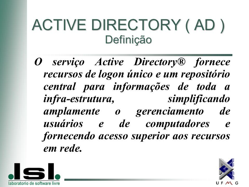 ACTIVE DIRECTORY ( AD ) Definição O serviço Active Directory® fornece recursos de logon único e um repositório central para informações de toda a infra-estrutura, simplificando amplamente o gerenciamento de usuários e de computadores e fornecendo acesso superior aos recursos em rede.