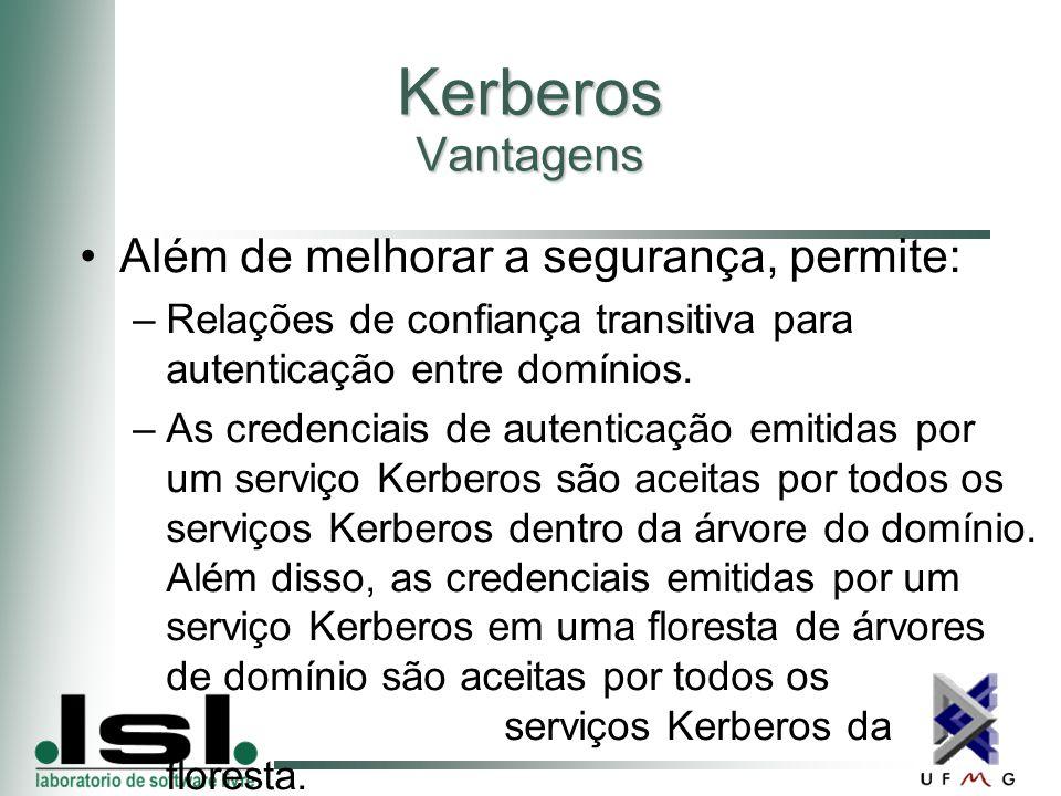Kerberos Vantagens Além de melhorar a segurança, permite: –Relações de confiança transitiva para autenticação entre domínios.
