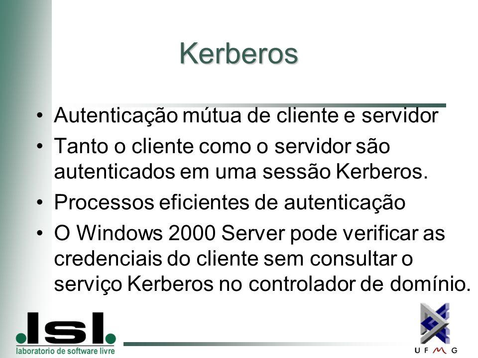 Kerberos Autenticação mútua de cliente e servidor Tanto o cliente como o servidor são autenticados em uma sessão Kerberos.