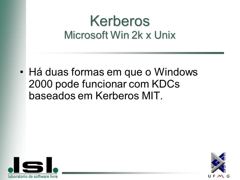 Kerberos Microsoft Win 2k x Unix Há duas formas em que o Windows 2000 pode funcionar com KDCs baseados em Kerberos MIT.