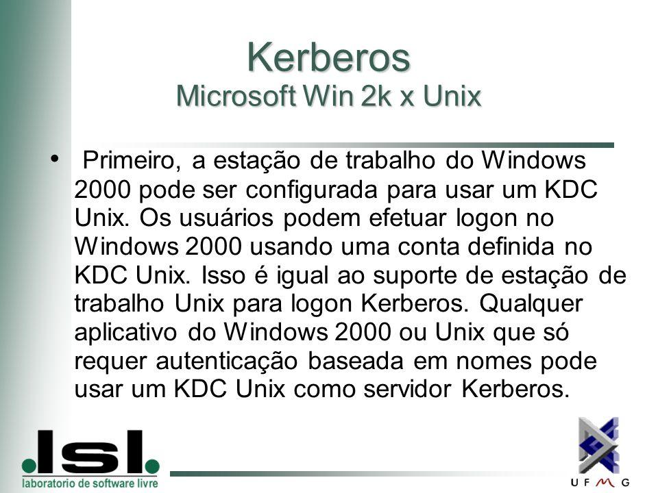 Kerberos Microsoft Win 2k x Unix Primeiro, a estação de trabalho do Windows 2000 pode ser configurada para usar um KDC Unix.