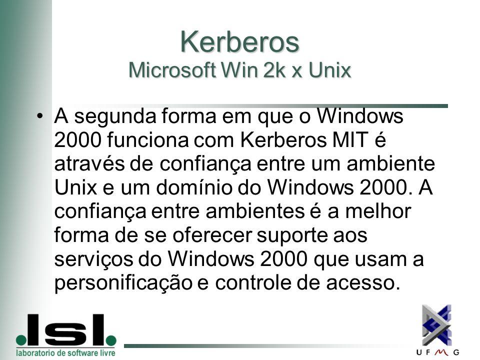 Kerberos Microsoft Win 2k x Unix A segunda forma em que o Windows 2000 funciona com Kerberos MIT é através de confiança entre um ambiente Unix e um domínio do Windows 2000.
