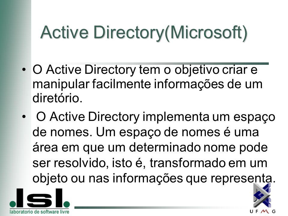 Active Directory(Microsoft) O Active Directory tem o objetivo criar e manipular facilmente informações de um diretório.