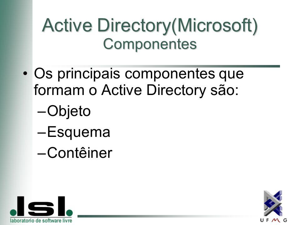 Active Directory(Microsoft) Componentes Os principais componentes que formam o Active Directory são: –Objeto –Esquema –Contêiner