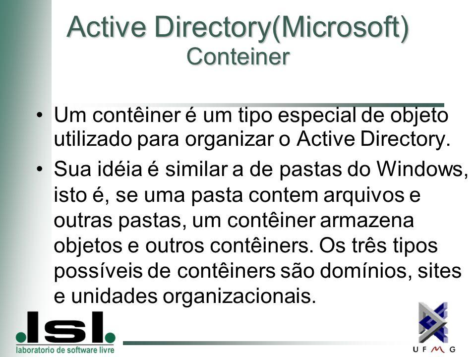 Active Directory(Microsoft) Conteiner Um contêiner é um tipo especial de objeto utilizado para organizar o Active Directory.