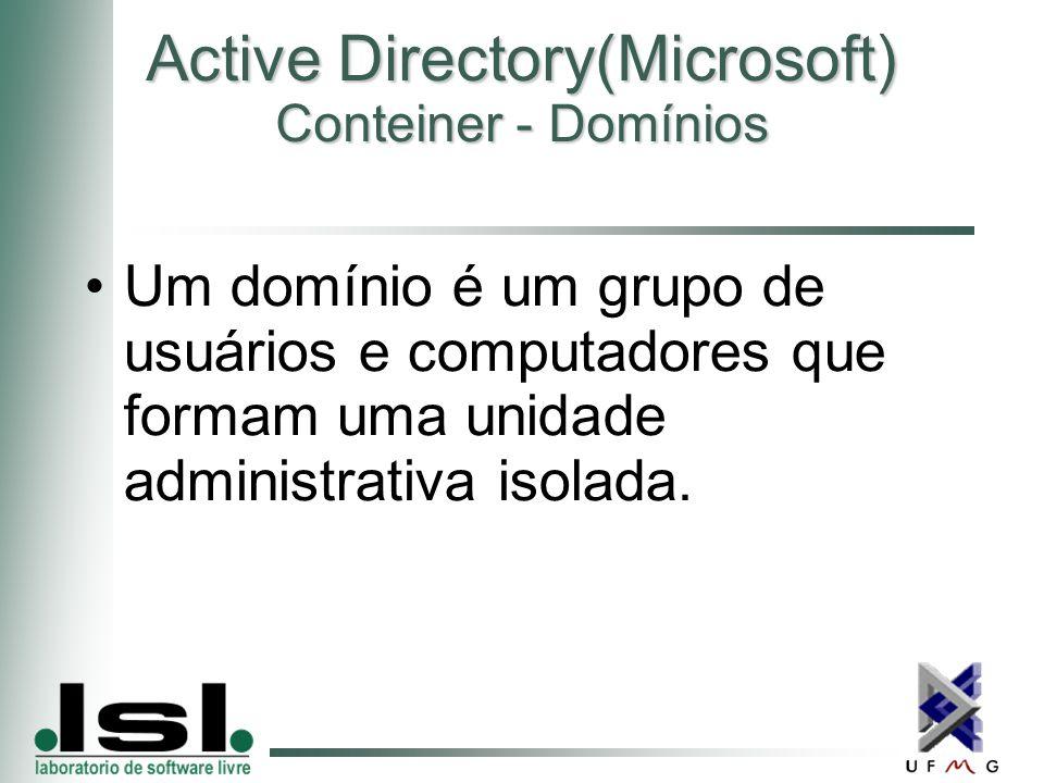 Active Directory(Microsoft) Conteiner - Domínios Um domínio é um grupo de usuários e computadores que formam uma unidade administrativa isolada.