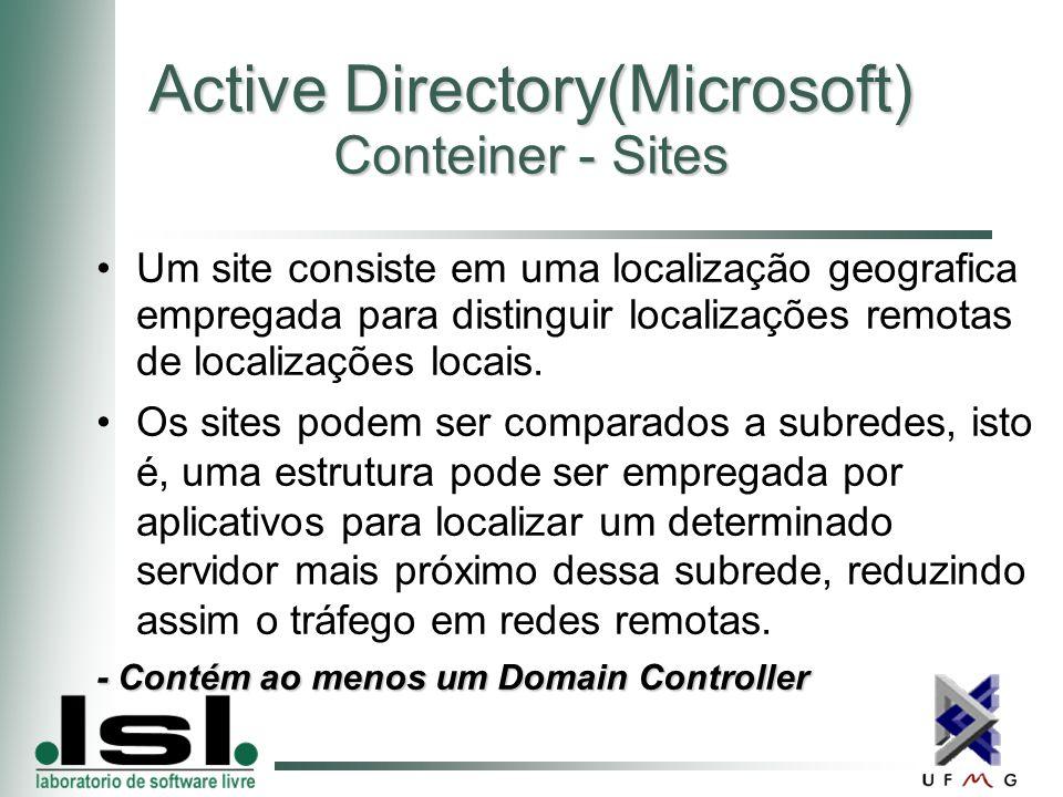 Active Directory(Microsoft) Conteiner - Sites Um site consiste em uma localização geografica empregada para distinguir localizações remotas de localizações locais.