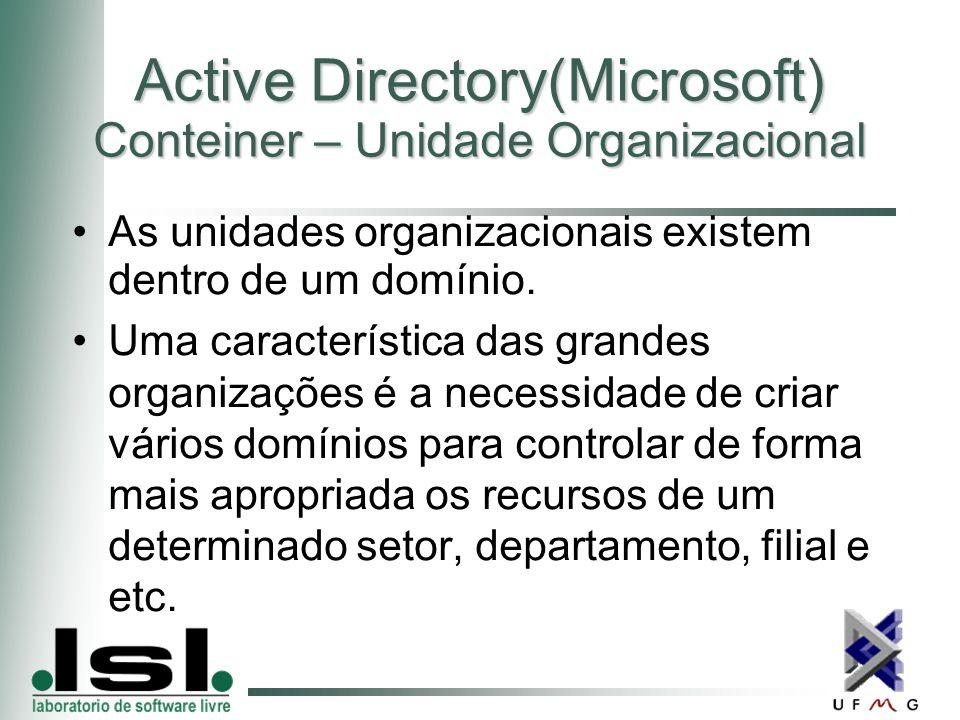Active Directory(Microsoft) Conteiner – Unidade Organizacional As unidades organizacionais existem dentro de um domínio.