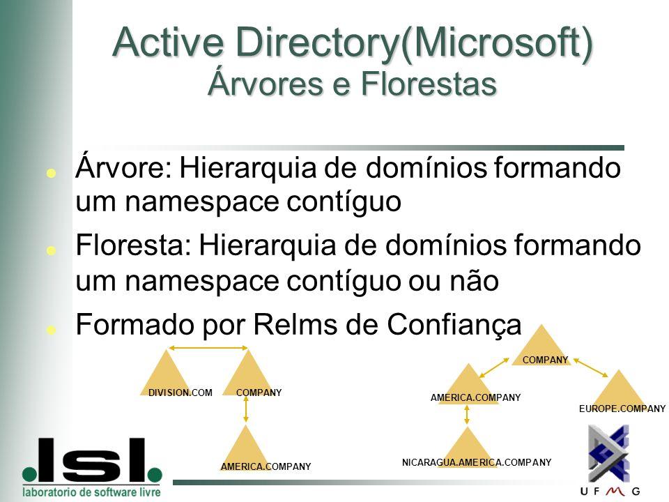 Active Directory(Microsoft) Árvores e Florestas Árvore: Hierarquia de domínios formando um namespace contíguo Floresta: Hierarquia de domínios formando um namespace contíguo ou não Formado por Relms de Confiança COMPANY EUROPE.COMPANY AMERICA.COMPANY NICARAGUA.AMERICA.COMPANY DIVISION.COM COMPANY AMERICA.COMPANY