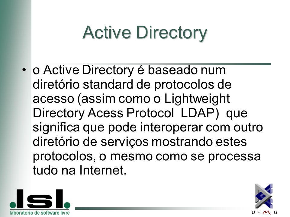 Active Directory o Active Directory é baseado num diretório standard de protocolos de acesso (assim como o Lightweight Directory Acess Protocol  LDAP)  que significa que pode interoperar com outro diretório de serviços mostrando estes protocolos, o mesmo como se processa tudo na Internet.