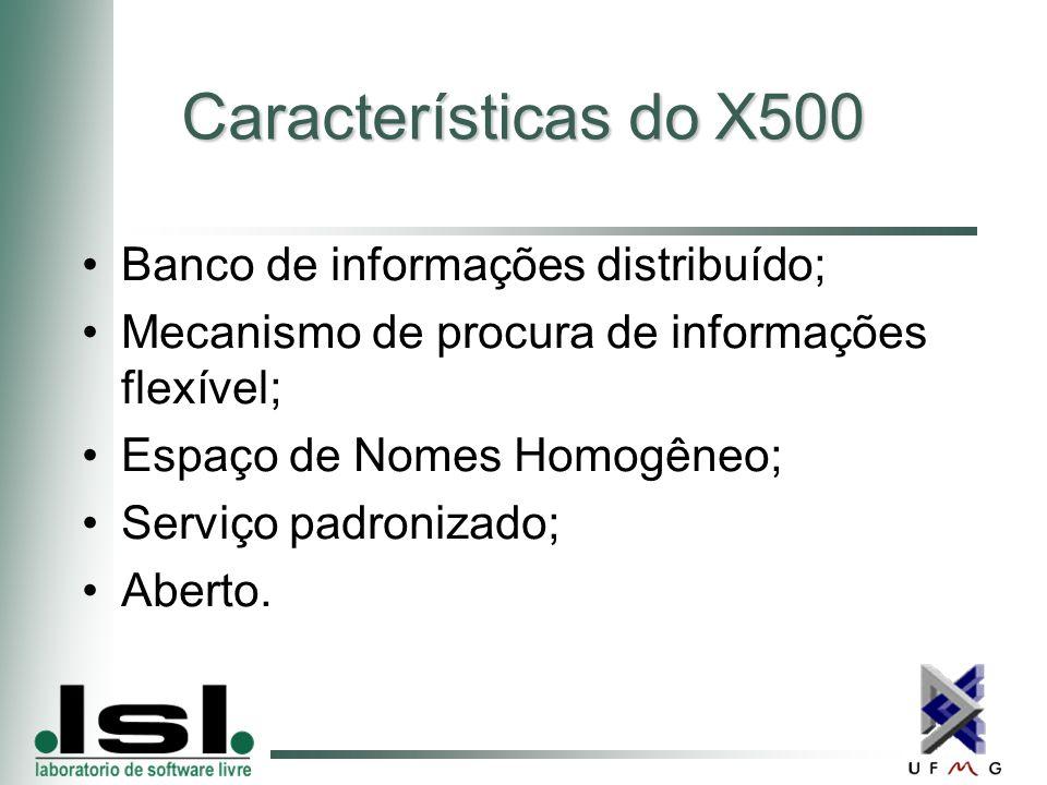 Características do X500 Banco de informações distribuído; Mecanismo de procura de informações flexível; Espaço de Nomes Homogêneo; Serviço padronizado; Aberto.