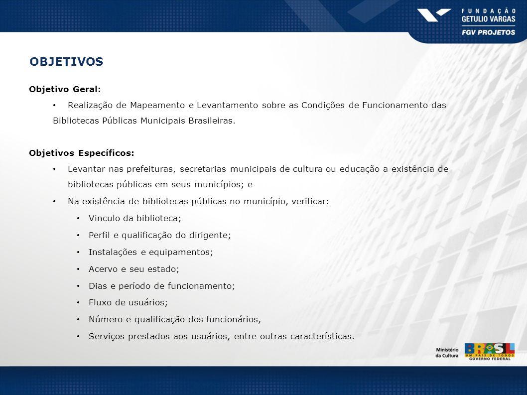 Objetivo Geral: Realização de Mapeamento e Levantamento sobre as Condições de Funcionamento das Bibliotecas Públicas Municipais Brasileiras. Objetivos
