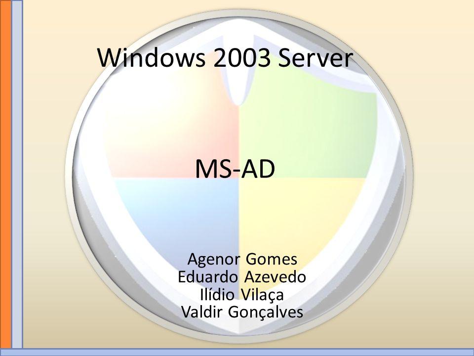 MS-AD Windows 2003 Server Agenor Gomes Eduardo Azevedo Ilídio Vilaça Valdir Gonçalves