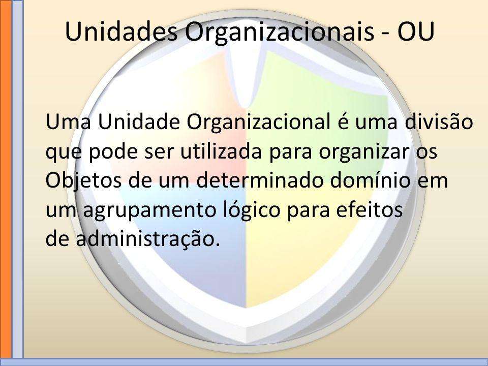 Unidades Organizacionais - OU Uma Unidade Organizacional é uma divisão que pode ser utilizada para organizar os Objetos de um determinado domínio em u