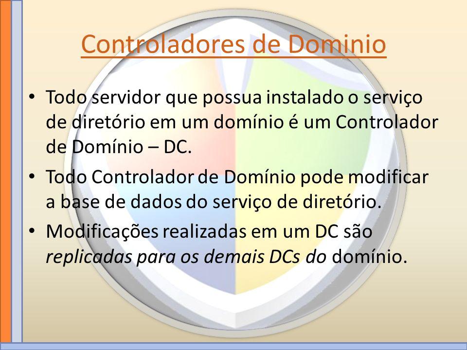 Controladores de Dominio Todo servidor que possua instalado o serviço de diretório em um domínio é um Controlador de Domínio – DC. Todo Controlador de