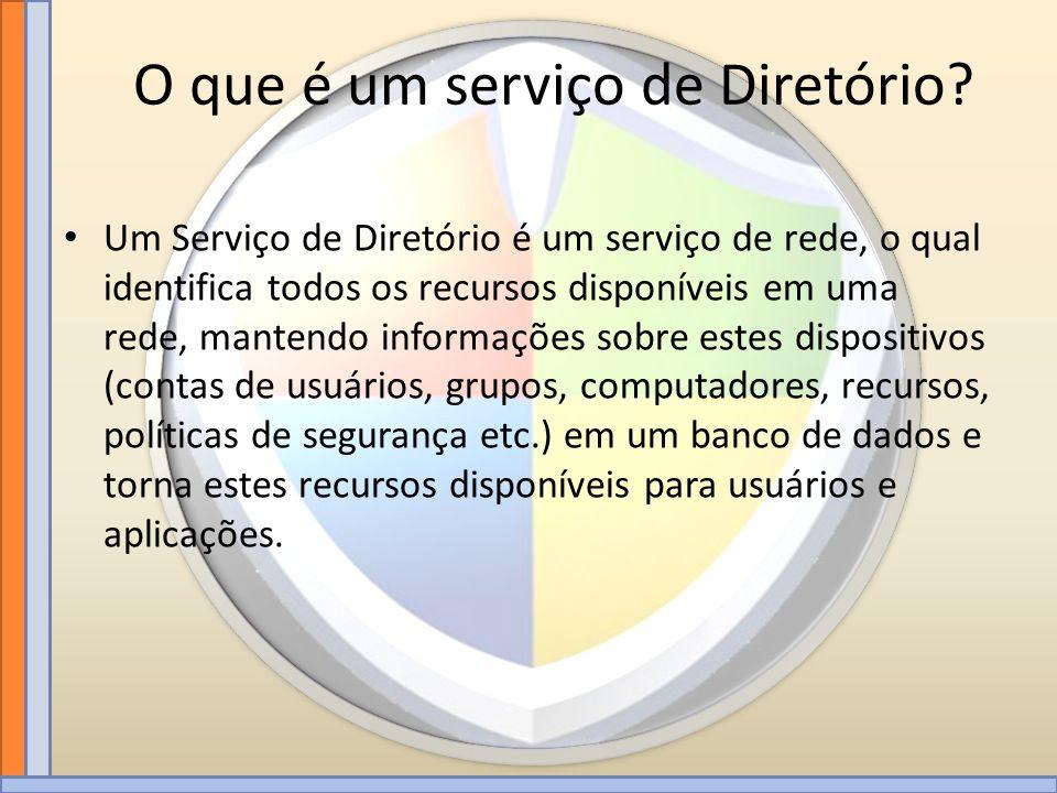 Um Serviço de Diretório é um serviço de rede, o qual identifica todos os recursos disponíveis em uma rede, mantendo informações sobre estes dispositiv