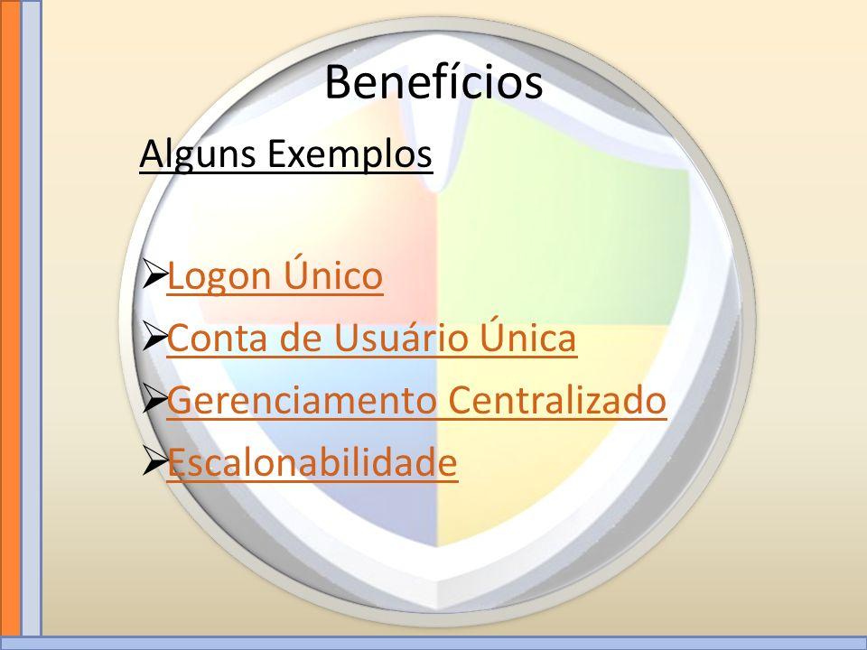 Benefícios Logon Único Conta de Usuário Única Gerenciamento Centralizado Escalonabilidade Alguns Exemplos