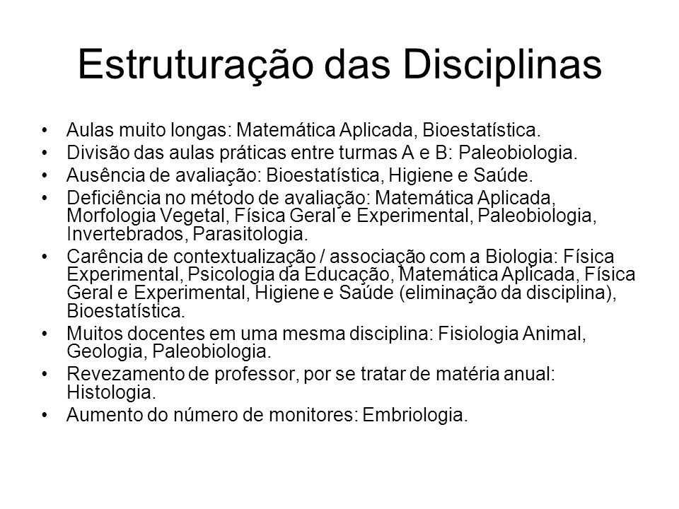 Estruturação das Disciplinas Aulas muito longas: Matemática Aplicada, Bioestatística. Divisão das aulas práticas entre turmas A e B: Paleobiologia. Au