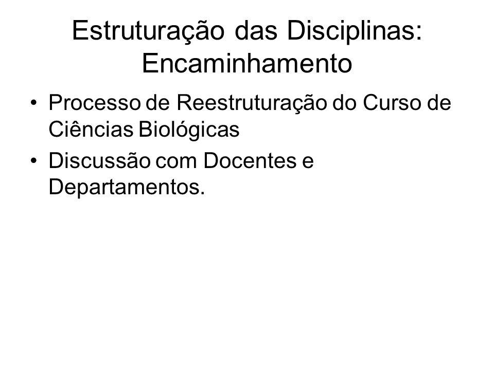 Estruturação das Disciplinas: Encaminhamento Processo de Reestruturação do Curso de Ciências Biológicas Discussão com Docentes e Departamentos.