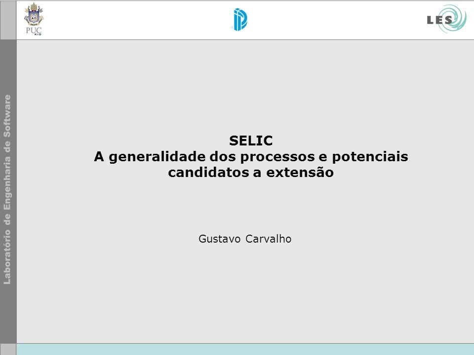 SELIC A generalidade dos processos e potenciais candidatos a extensão Gustavo Carvalho