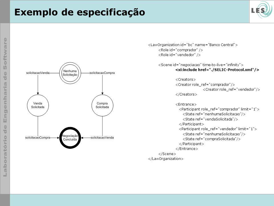 Exemplo de especificação
