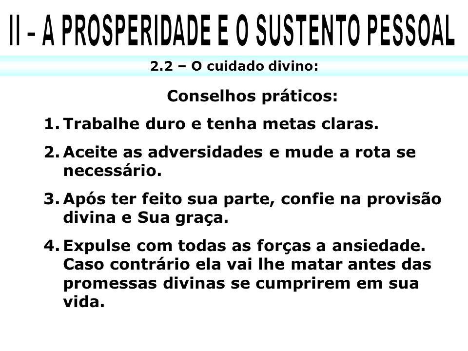 2.2 – O cuidado divino: Conselhos práticos: 1.Trabalhe duro e tenha metas claras. 2.Aceite as adversidades e mude a rota se necessário. 3.Após ter fei