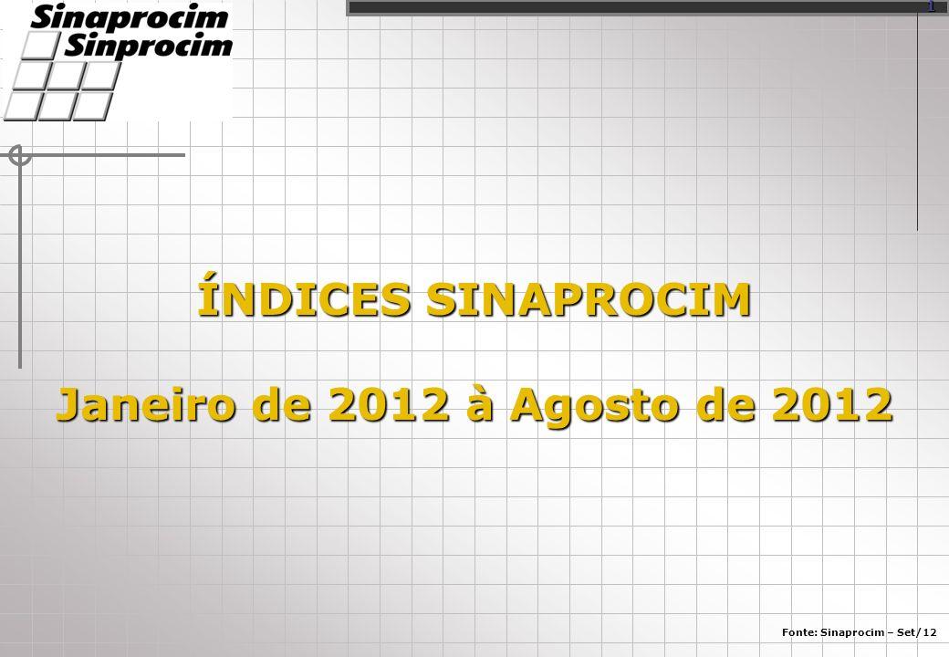 ÍNDICES SINAPROCIM Janeiro de 2012 à Agosto de 2012 Fonte: Sinaprocim – Set/12 1