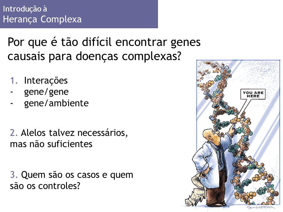 Introdução à Herança Complexa 1.Interações -gene/gene -gene/ambiente Por que é tão difícil encontrar genes causais para doenças complexas.