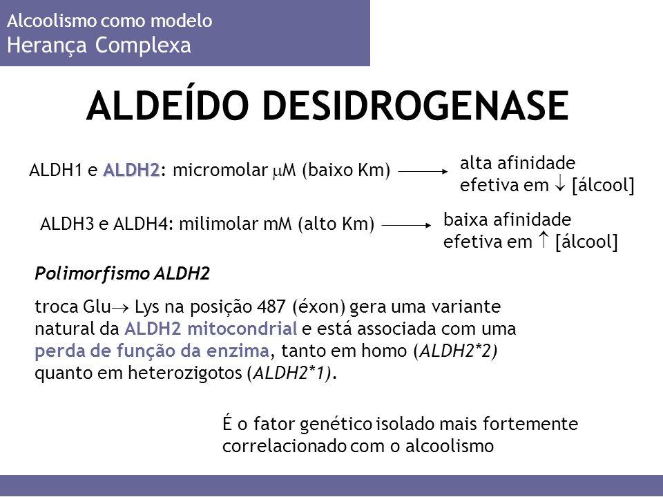 ALDH2 ALDH1 e ALDH2: micromolar M (baixo Km) ALDEÍDO DESIDROGENASE Alcoolismo como modelo Herança Complexa Polimorfismo ALDH2 troca Glu Lys na posição 487 (éxon) gera uma variante natural da ALDH2 mitocondrial e está associada com uma perda de função da enzima, tanto em homo (ALDH2*2) quanto em heterozigotos (ALDH2*1).