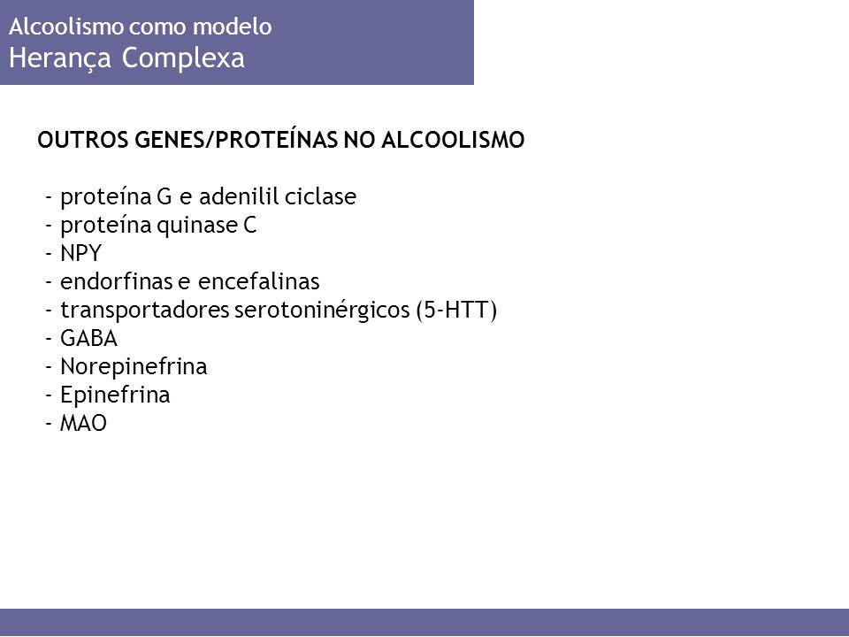 OUTROS GENES/PROTEÍNAS NO ALCOOLISMO Alcoolismo como modelo Herança Complexa - proteína G e adenilil ciclase - proteína quinase C - NPY - endorfinas e encefalinas - transportadores serotoninérgicos (5-HTT) - GABA - Norepinefrina - Epinefrina - MAO