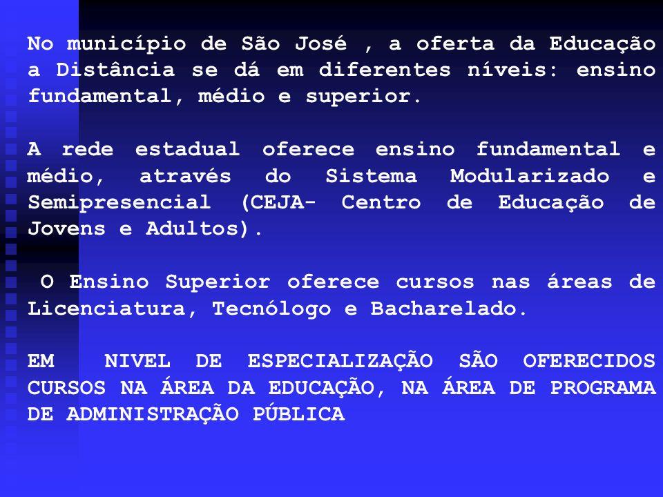 No município de São José, a oferta da Educação a Distância se dá em diferentes níveis: ensino fundamental, médio e superior. A rede estadual oferece e