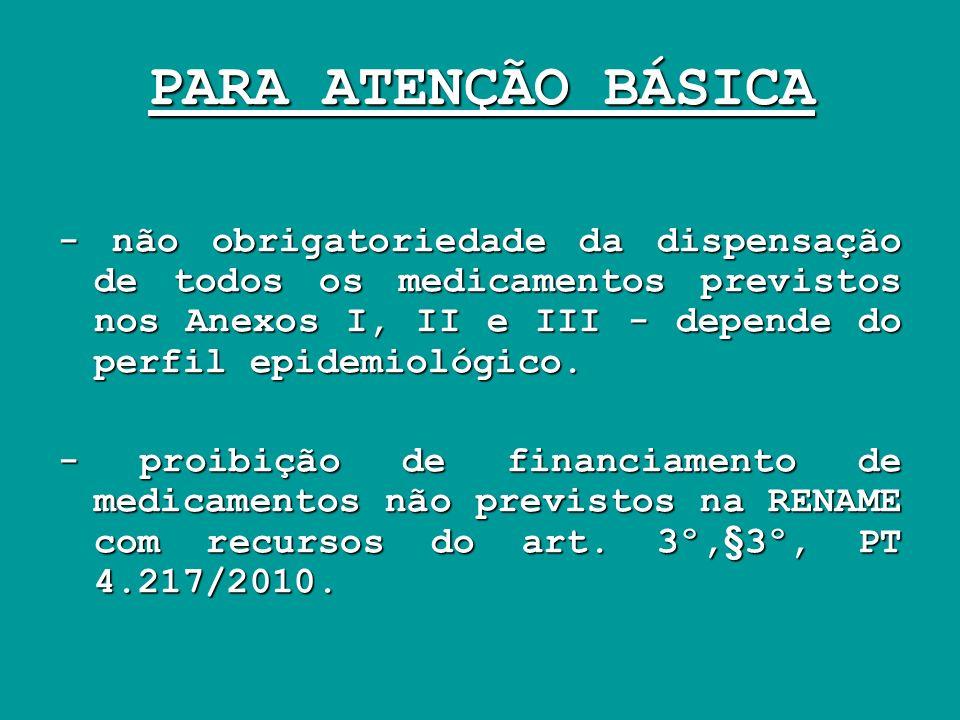 PARA ATENÇÃO BÁSICA - não obrigatoriedade da dispensação de todos os medicamentos previstos nos Anexos I, II e III - depende do perfil epidemiológico.