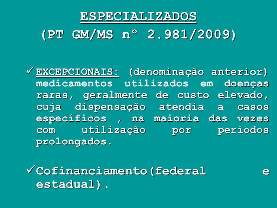 ESPECIALIZADOS (PT GM/MS nº 2.981/2009) EXCEPCIONAIS: (denominação anterior) doenças raras, geralmente de custo elevado, cuja dispensação atendia a ca