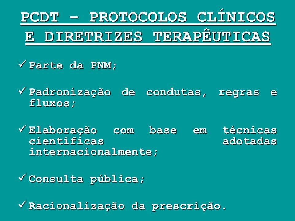 PCDT – PROTOCOLOS CLÍNICOS E DIRETRIZES TERAPÊUTICAS Parte da PNM; Parte da PNM; Padronização de condutas, regras e fluxos; Padronização de condutas,