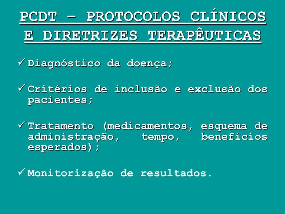 PCDT – PROTOCOLOS CLÍNICOS E DIRETRIZES TERAPÊUTICAS Diagnóstico da doença; Diagnóstico da doença; Critérios de inclusão e exclusão dos pacientes; Cri