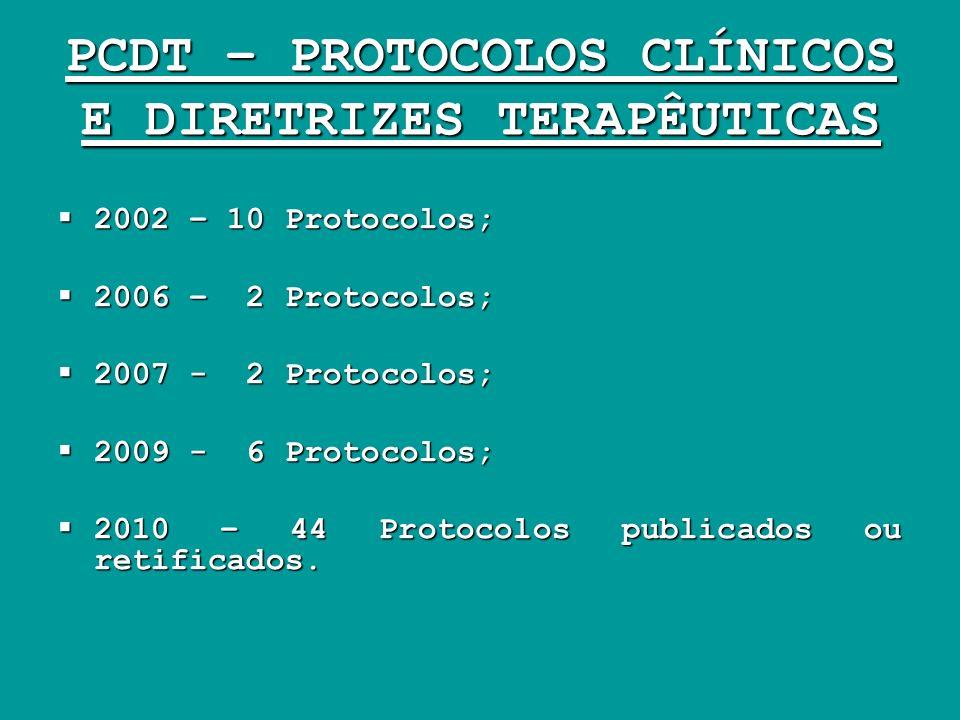 PCDT – PROTOCOLOS CLÍNICOS E DIRETRIZES TERAPÊUTICAS 2002 – 10 Protocolos; 2002 – 10 Protocolos; 2006 – 2 Protocolos; 2006 – 2 Protocolos; 2007 - 2 Pr