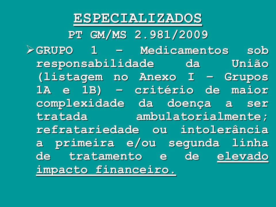 ESPECIALIZADOS PT GM/MS 2.981/2009 GRUPO 1 – Medicamentos sob responsabilidade da União (listagem no Anexo I – Grupos 1A e 1B) – critério de maior com