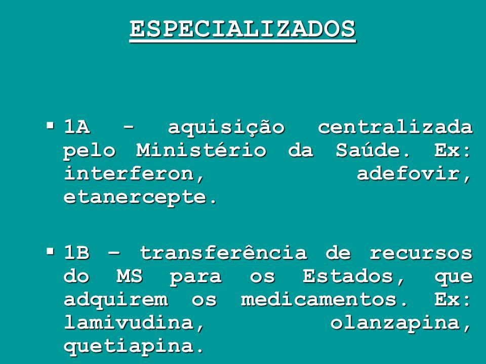 ESPECIALIZADOS 1A - aquisição centralizada pelo Ministério da Saúde. Ex: interferon, adefovir, etanercepte. 1A - aquisição centralizada pelo Ministéri