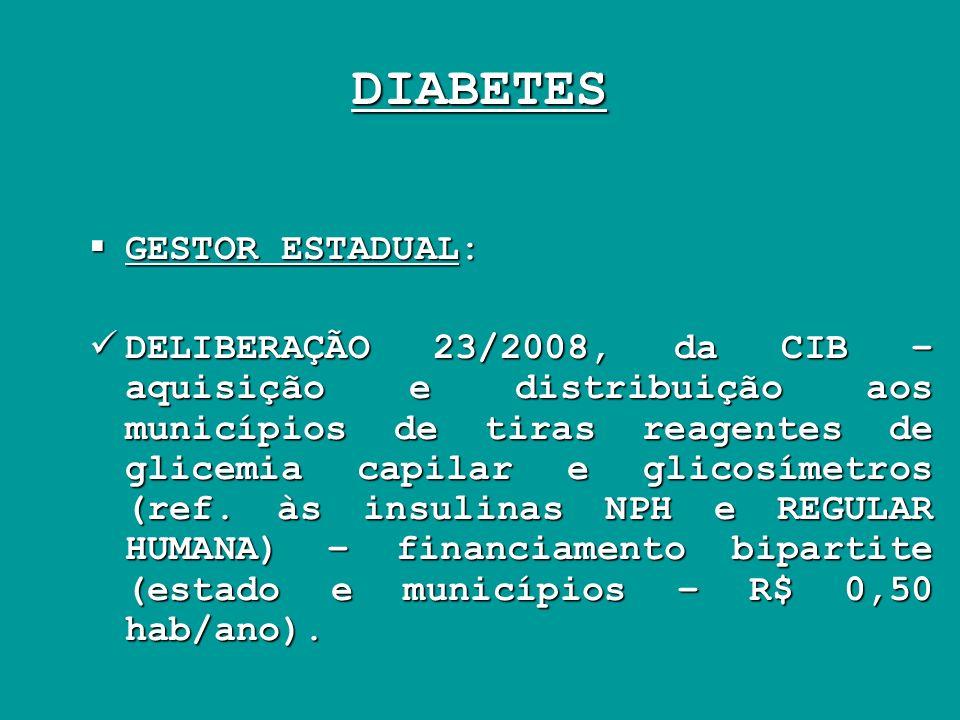 DIABETES GESTOR ESTADUAL: GESTOR ESTADUAL: DELIBERAÇÃO 23/2008, da CIB – aquisição e distribuição aos municípios de tiras reagentes de glicemia capila