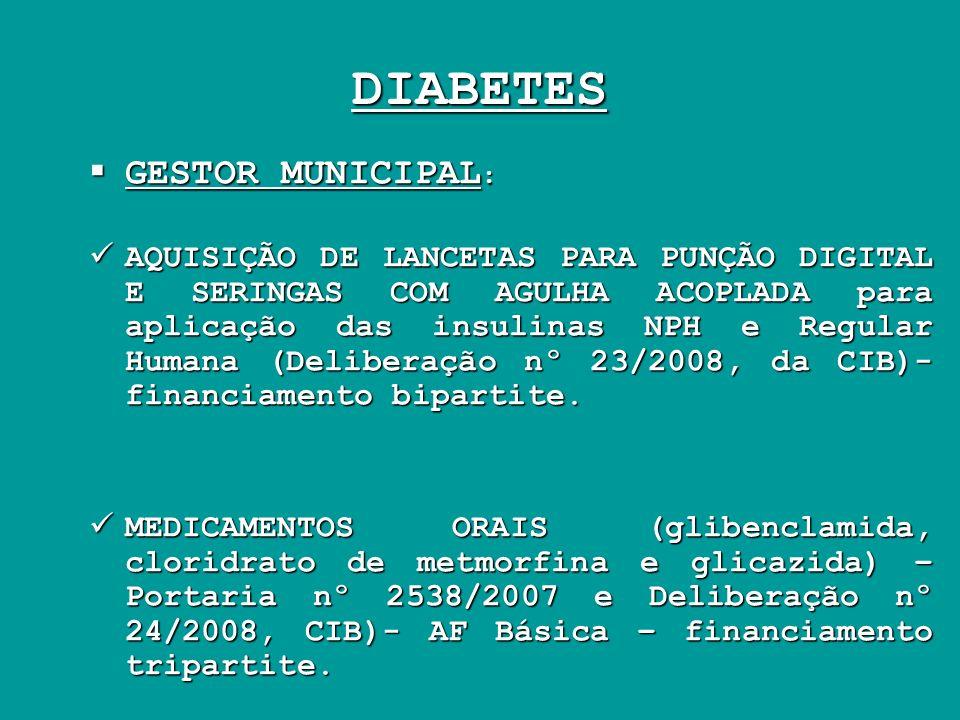 DIABETES GESTOR MUNICIPAL : GESTOR MUNICIPAL : AQUISIÇÃO DE LANCETAS PARA PUNÇÃO DIGITAL E SERINGAS COM AGULHA ACOPLADA para aplicação das insulinas N