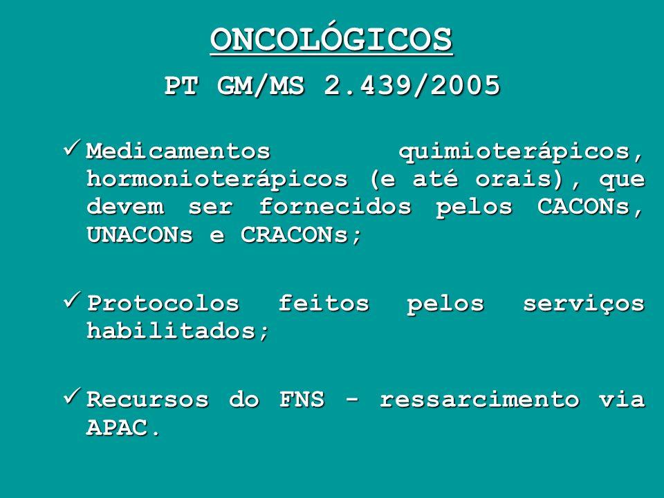 ONCOLÓGICOS PT GM/MS 2.439/2005 Medicamentos quimioterápicos, hormonioterápicos (e até orais), que devem ser fornecidos pelos CACONs, UNACONs e CRACON
