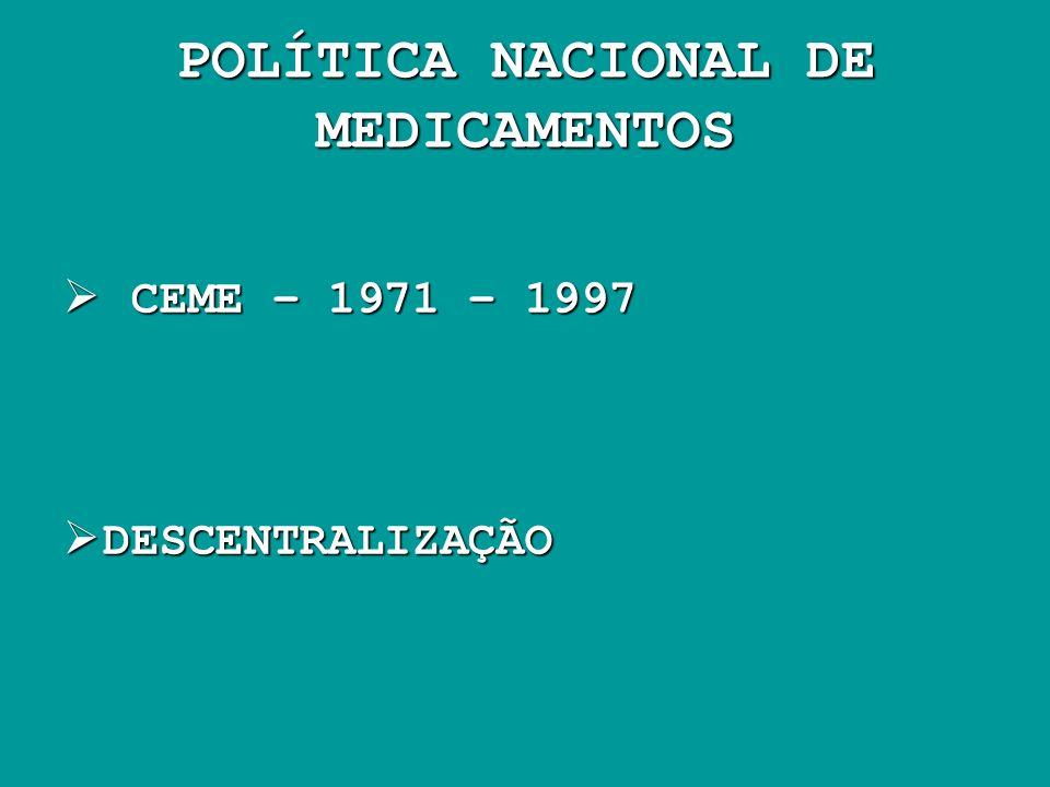 POLÍTICA NACIONAL DE MEDICAMENTOS CEME – 1971 – 1997 CEME – 1971 – 1997 DESCENTRALIZAÇÃO DESCENTRALIZAÇÃO