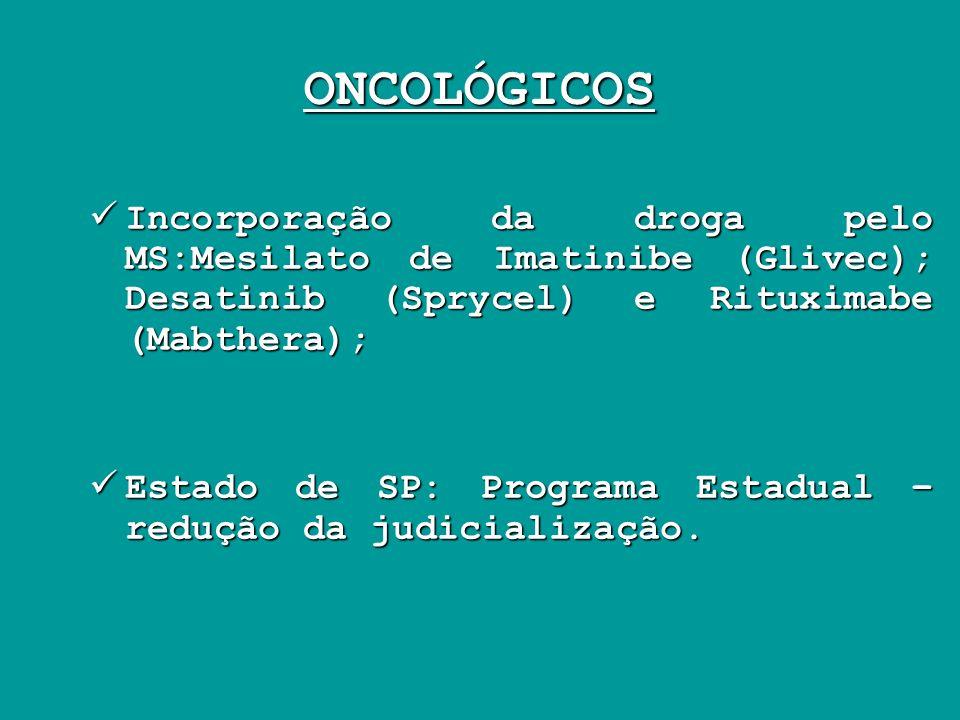 ONCOLÓGICOS Incorporação da droga pelo MS:Mesilato de Imatinibe (Glivec); Desatinib (Sprycel) e Rituximabe (Mabthera); Incorporação da droga pelo MS:M