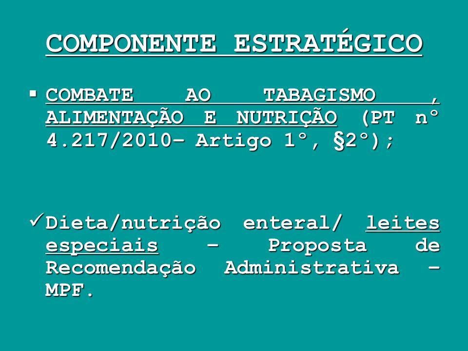 COMPONENTE ESTRATÉGICO COMBATE AO TABAGISMO, ALIMENTAÇÃO E NUTRIÇÃO (PT nº 4.217/2010– Artigo 1º, §2º); COMBATE AO TABAGISMO, ALIMENTAÇÃO E NUTRIÇÃO (